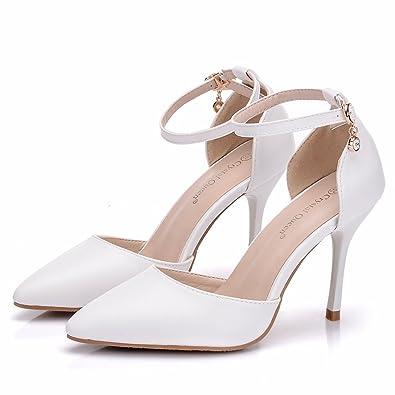 LEIT Frauen Dick Wasserdicht Plattform Dünne Schuhe Farbe High-Heeled Runder Kopf, Weiß, 34