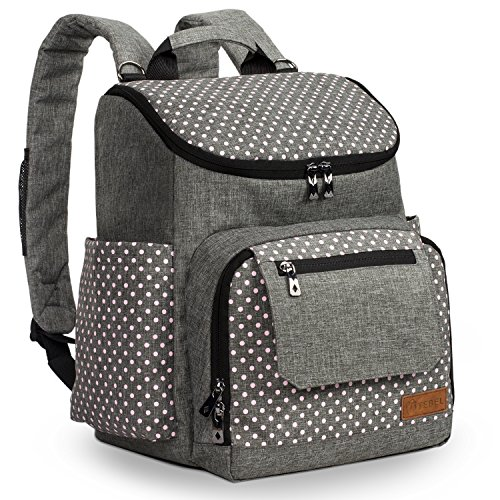 TEBEL Diaper Bag Baby Backpack Multi-function with Stroller Strap, Polka Dot (Grey and Pink)