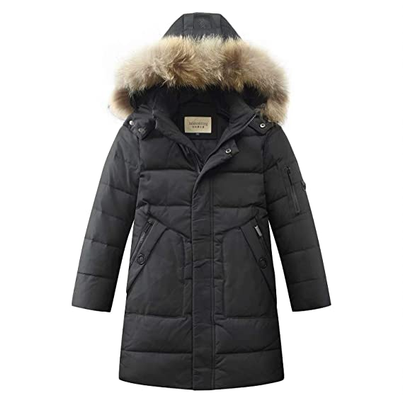 BiSHE Boys Kids Winter Mid-Long Hooded Down Coat Thicken Warm Puffer Jacket Parka