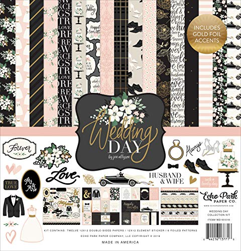 Echo Park Paper Company WD181016 Wedding Day Collection Kit Paper, Green, Pink, Cream, Black, Grey