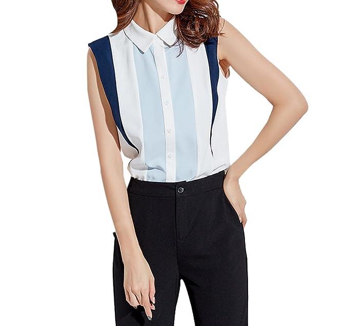 JackenLOVE Verano Mujeres Slim Camisas Moda Patchwork Blusa de Gasa tee Shirts Casual Solapa Camisetas Sin