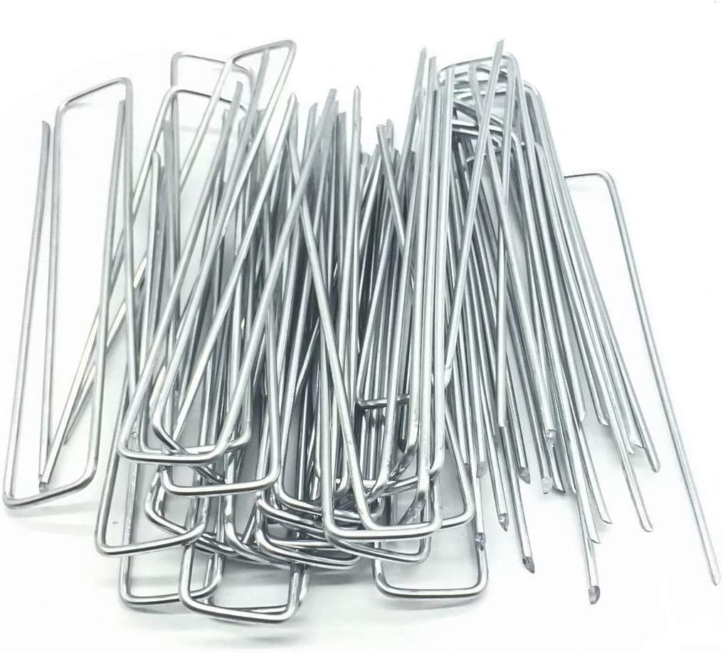 SuperMMarK Garden Landscape Staples, 6 Inch 11 Gauge Galvanized Garden Stakes Ground U Shaped Landscape Pins to Secure Lawn Fabrics Weed Barrier Covers Ground Cover and Landscaping, 100 Pack