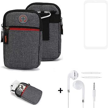K-S-Trade® Bolsa De Cinturón + Auriculares para Samsung Galaxy A10 Funda Protectora De Estuche para Teléfono Móvil Gris Compartimentos Adicionales 1x: Amazon.es: Electrónica