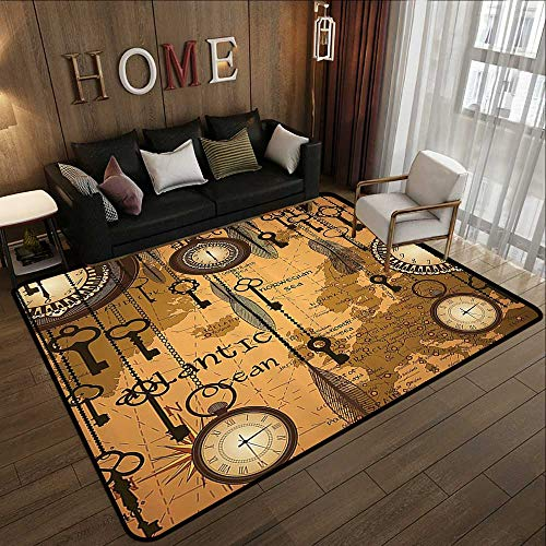 Throw Rugs,Antique Decor Collection,Antique Background with Map Clocks and Feathers Time Classics Country Style,Peru Sienna Brown 47