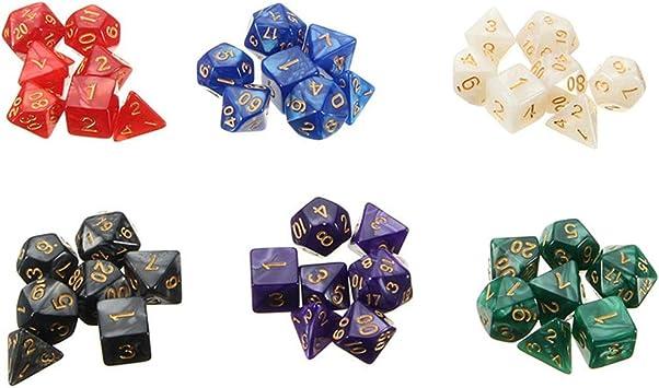 Juegos de Matemáticas Juegos Dados poliédricos Juego de Dados de Mesa Juegos de Mazmorras y Dragones Serie 6 x 7 Dados DND RPG MTG: Amazon.es: Juguetes y juegos