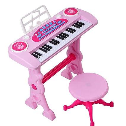 Toyvian 37 teclas Teclado de piano con micrófono y taburete Teclado electrónico Instrumento de música para