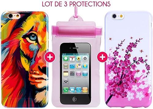 Pack de accesorios para iPhone 6, diseño de león, Color: %2F6S-- Funda impermeable, diseño de flores: Amazon.es: Electrónica