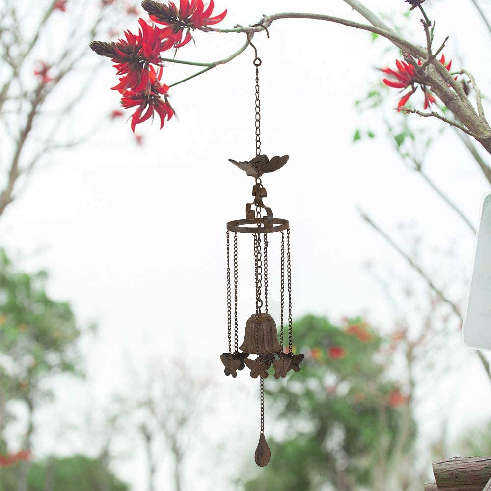 """MOCOME Hanging Butterfly Bell Chime with Chain for Outside Windy Place, Unique Decorative Metal Cast Iron Windchimes, Outdoor Garden Gift for Grandma(30.25"""" Rusty)"""