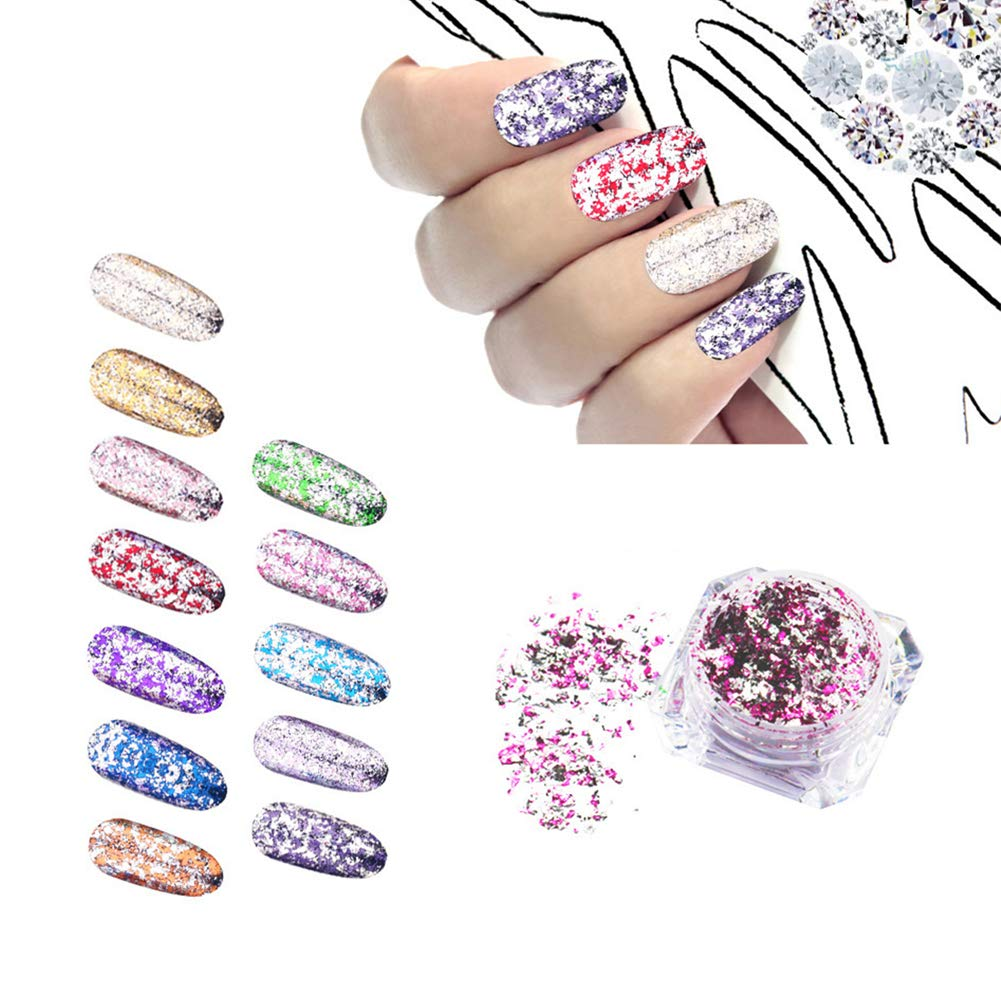 Nail Chrome Powder - Flake & Mirror Effect Nail Holographic Glitter Powder Manicure Pigment Kit-12 colors (01-12) Beauty Kate