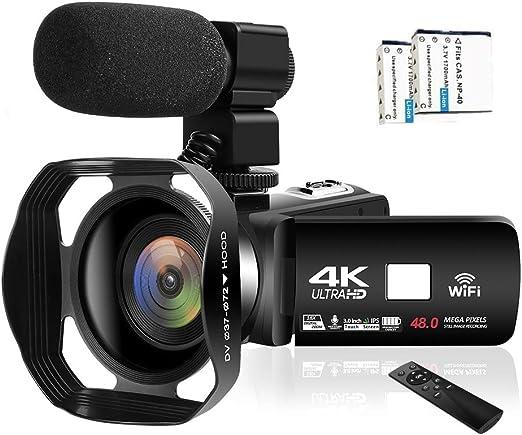 Videocamara 4K Videoc/ámara WiFi C/ámara de vlogging de 48MP Videoc/ámara Digital 30FPS Visi/ón Nocturna por Infrarrojos Videocamara con Pantalla t/áctil de 3 Pulgadas con micr/ófono y Capucha