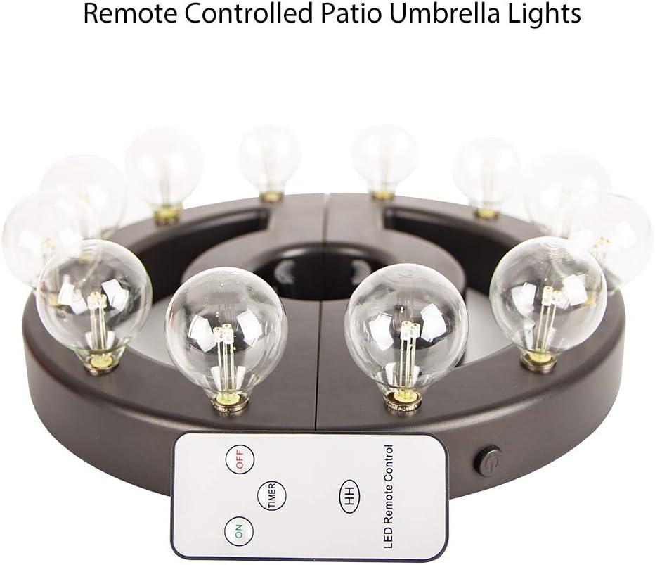 f/ür Gartenschirme oder Camping-Zelt ZHONGXIN Regenschirm-LED-Leuchten f/ür den Au/ßenbereich 12 warmwei/ße G40-LED-Leuchtmittel batteriebetrieben mit Fernbedienung kabellos