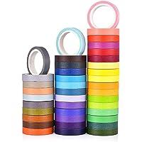 MoonyLI Washi Masking Tape Kleurrijke regenboogband 40 rollen 0,75 cm Craft Tape Masking Tape Set plakband voor DIY…