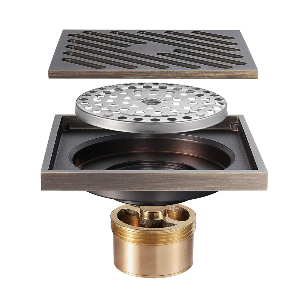 Square Shower Floor Drain Tile Insert 4-Inch Pure Cupper Brushed Grate Strainer With Removable Cover Anti-Clogging, High-Grade Bronze Floor Drain