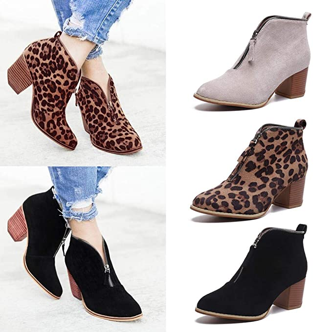 d76fec441e3 Amazon.com  Ninasill Women Ankle Boot Leopard Zipper Boots Boots Shoes   Clothing