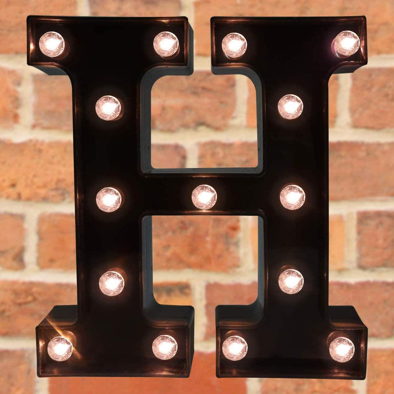Decorative LED Illuminated Letter Marquee Sign - Alphabet Marquee Letters with Lights for Wedding Birthday Party Christmas Night Light Lamp Home Bar Decoration H, Black