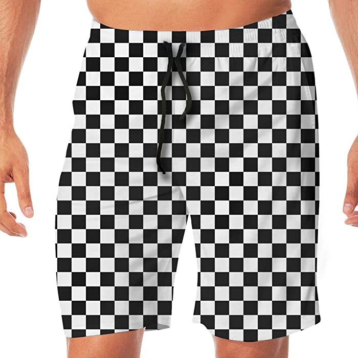 4d6758a7b9a32 Amazon.com: CHENGSHEN Black Checkered Men's Summer Beach Quick-Dry Surf Swim  Trunks Boardshorts Cargo Pants: Clothing
