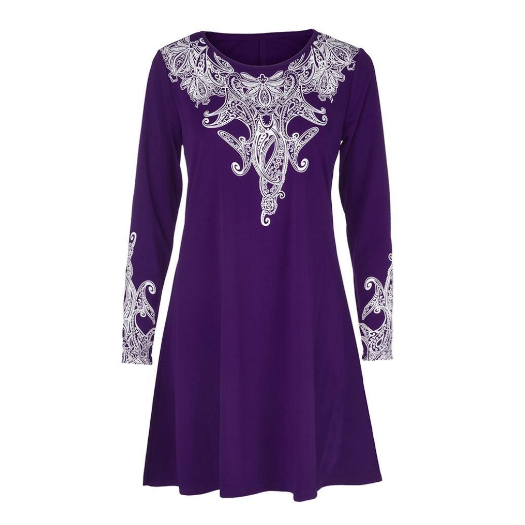 Mujer blusa tops Otoño talla grande,Sonnena CLas mujeres Blusa forman el o-cuello mangas largas vintage florales impresas más tamaño remata la blusa floja ...