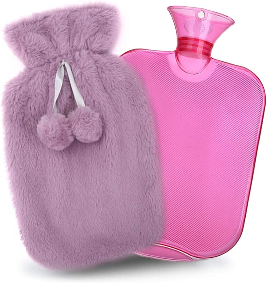 QIBOX Hot Water Bottle with Soft Fleece Cover, Classic Rubber Hot Water Bag PVC Hot Water Bottle for Pain Relief, Hot & Cold Therapy