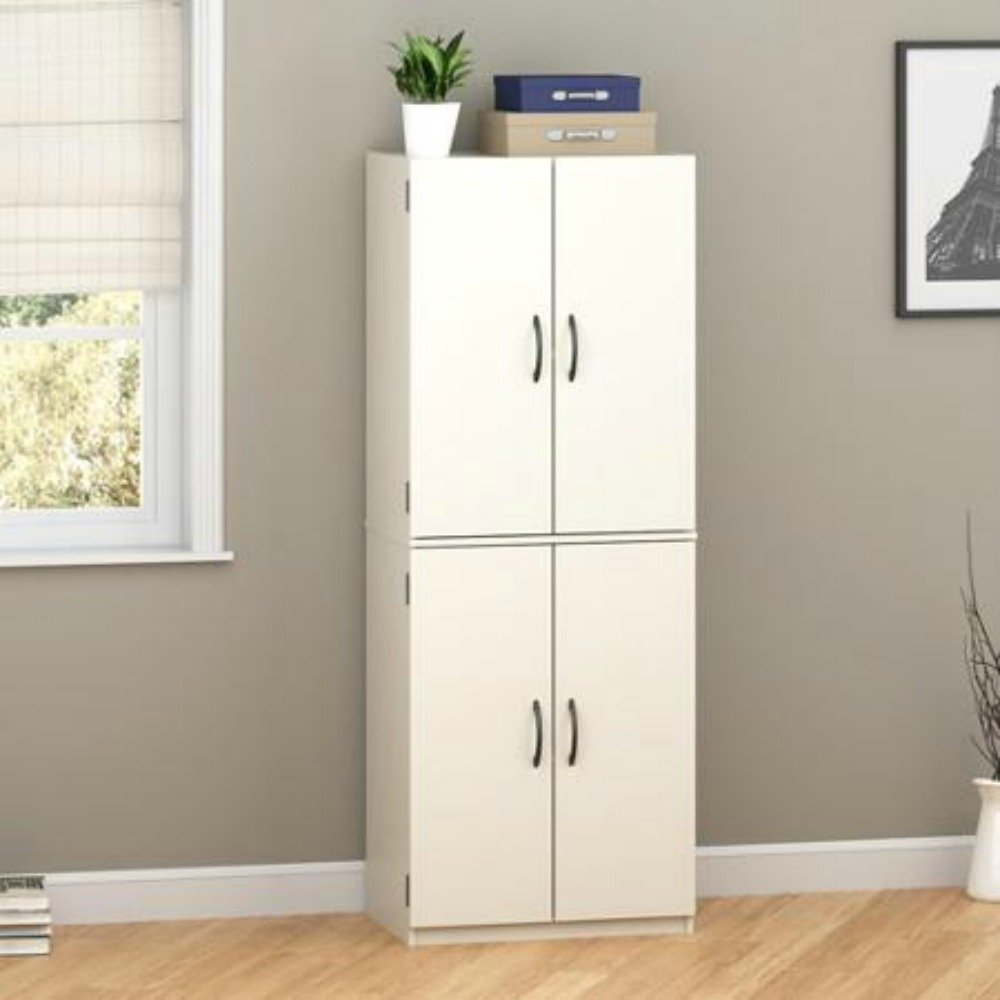 Amazoncom Mainstays Tall Storage Cabinet 4 Door White Home