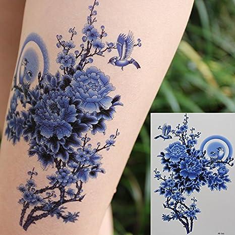Oottati Tatuajes Temporales Old School Pájaro Azul Flor (2 hojas ...