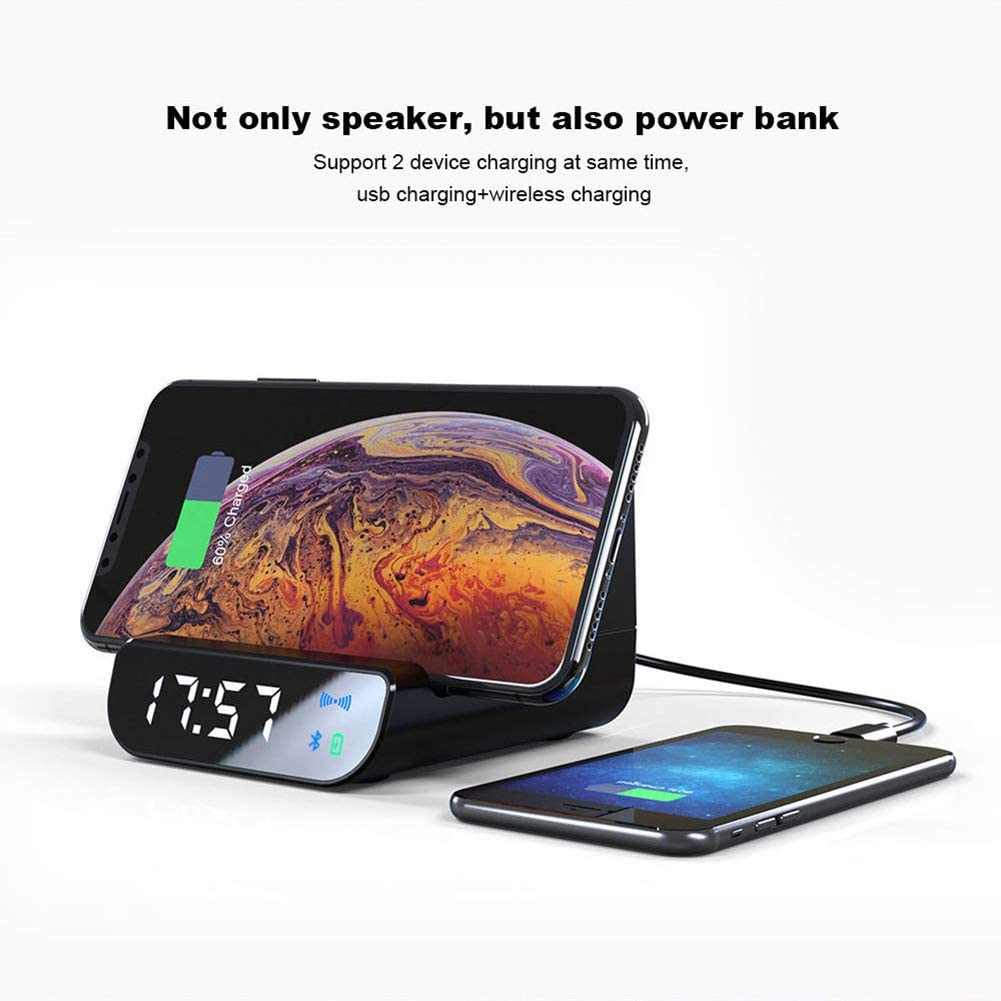 VOLORE Reveil Num/érique Chargement sans Fil Qi Enceinte Bluetooth R/éveil /électrique Double Alarme Port de Chargement USB Chargeur Induction Affichage /à LED pour Chambre /à Coucher