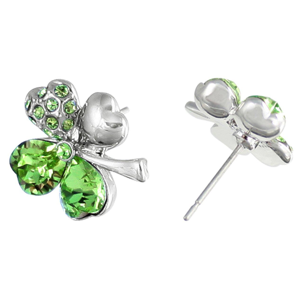 Dahlia Four Leaf Clover Stud Earrings with Swarovski Crystals, Rhodium Plated