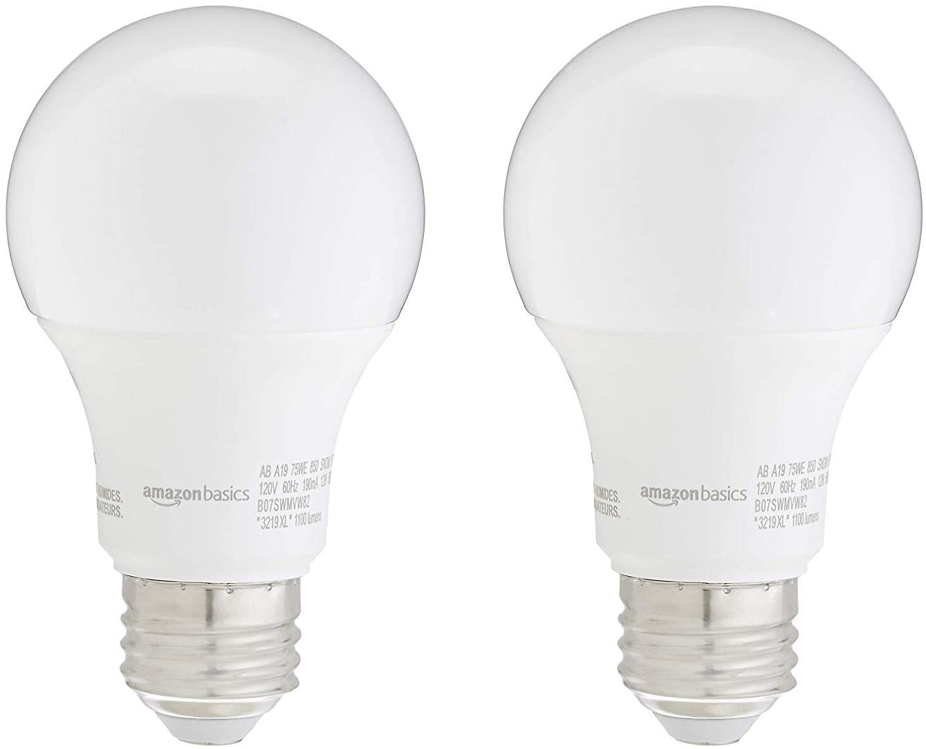 AmazonBasics 75W Equivalent, Daylight, Non-Dimmable, 10,000 Hour Lifetime, A19 LED Light Bulb | 2-Pack