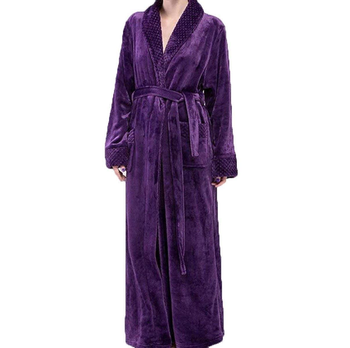 Botas De Invierno Cálidas para Mujer Traje Casuales Franela Mujeres De Batas Simples Color Simple Servicio A Domicilio Pijamas Albornoz (Color : Purple, ...