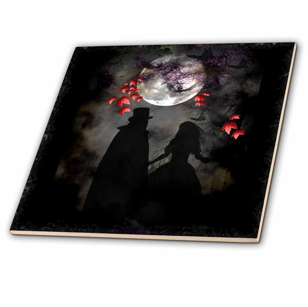 3dRose ct/_21484/_8 Gothic Romance DarkArt GothicArt Gothic Gothica Couple Romance Romantic Wedding Love Fullmoon Glass Tile 12-Inch