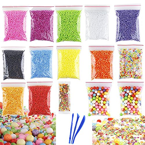 Colorful Styrofoam Foam Balls for Slime 0.08-0.35 Inch with Slime Tools Plastic Vase Filler Beads Fish Bowl Beads for Slime Making Art DIY Craft - Black Packing Foam