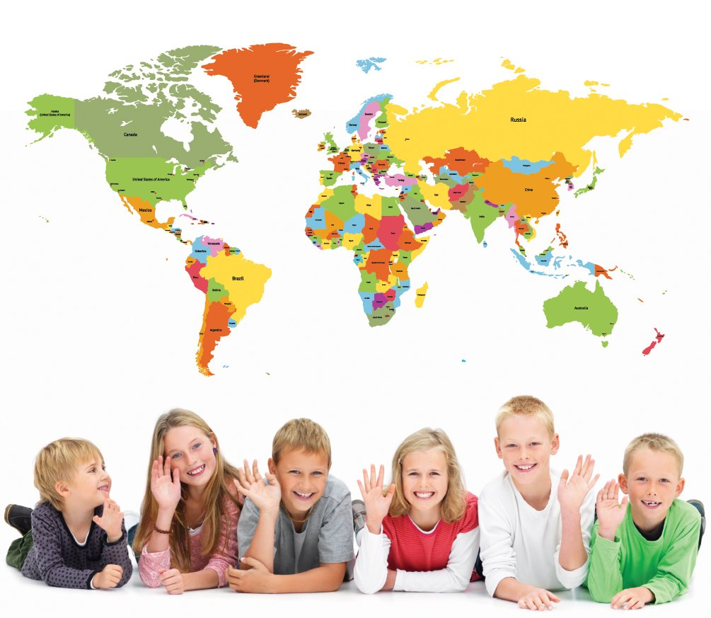 PopDecors Educational World Map 98 inch for Kids Room Wall Decal Vinyl Wall Sticker Wall Mural Playroom Vinyls Children Wall Arts by Pop Decors