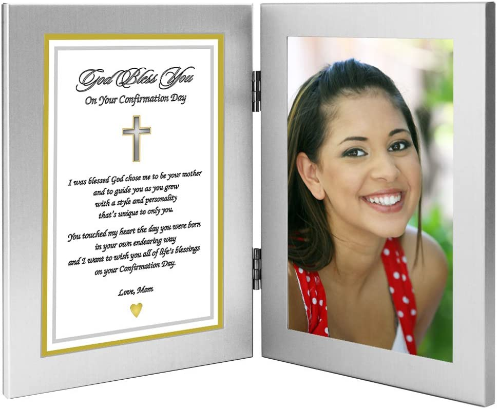 Add Photo Poem from Mom in Double Frame Confirmation Gift for Son or Daughter