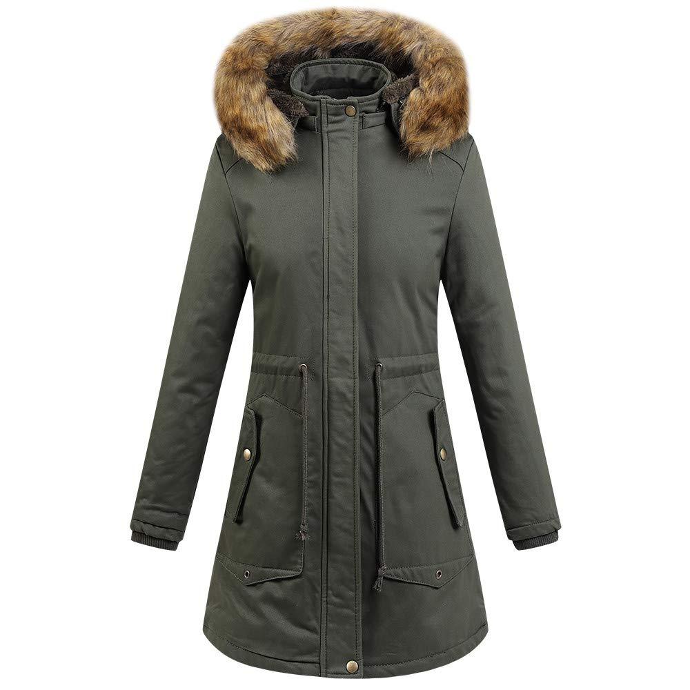 UONQD Womens Faux Fur Winter Jacket Parka Hooded Coat Fishtail Overcoat (Large, Green)