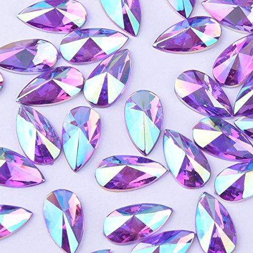 8x13mm Water Droplets Light Crystal AB Acrylic Special Effects Rhinestones Teardrop AB Acrylic FlatBackship Whip Free Gift From yoyole (purple) -