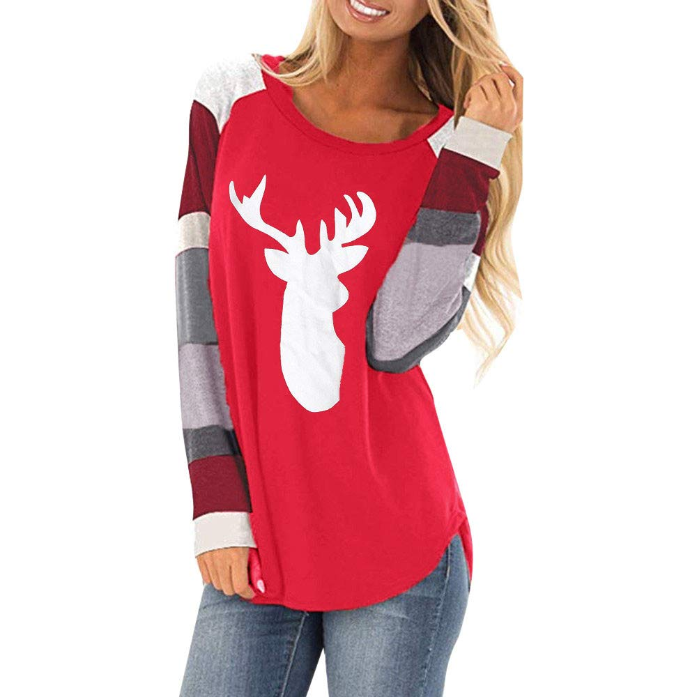 Women Christmas Shirt Long Sleeve Xmas Deer Loose Pullover Tops Blouses DBolomm