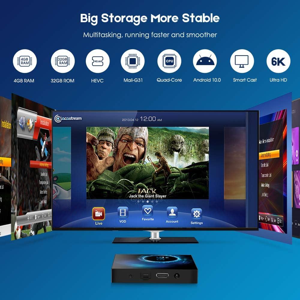 Android TV Box 10.0, GKG T95 TV Box 4GB RAM 32GB ROM Allwinner H616 Quad-core 64-bit Soporte 6K 3D WiFi 2.4GHz Android Box [2020 Versión]: Amazon.es: Electrónica