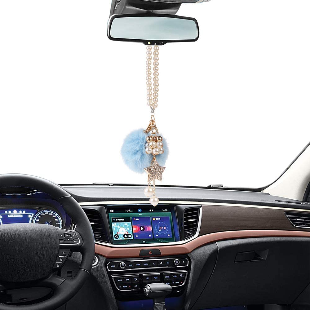 Crystal Diamond Fairy//Unicorn//Luxury Pearl Star Rearview Mirror Hanging Bling Charm Girly Decoration for Car//Home//Office MINI-FACTORY Car Interior Hanging Ornament Unicorn
