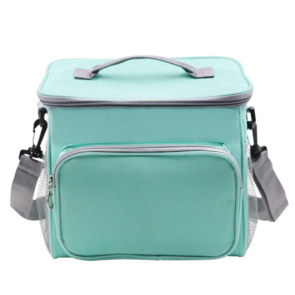 LA-PIN Insulated Lunch Bag,Double Zipper Closure Detachable Shoulder Strap with Mesh Pocket Leakproof Liner Cooler Lunch Bag for Adults,Men and Women (Blue)