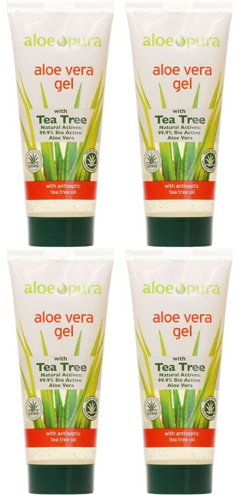 (4 PACK) - Aloe Pura - Aloe Vera Gel + Tea Tree | 200ml | 4 PACK BUNDLE