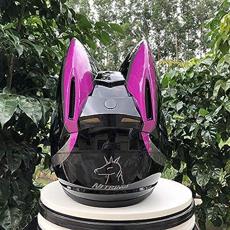 YGFS Damen Erwachsenen Motorradhelm Four Seasons Universal Abnehmbare Katzenohren Full Face Motorrad Offroad Helm schwarz Pink