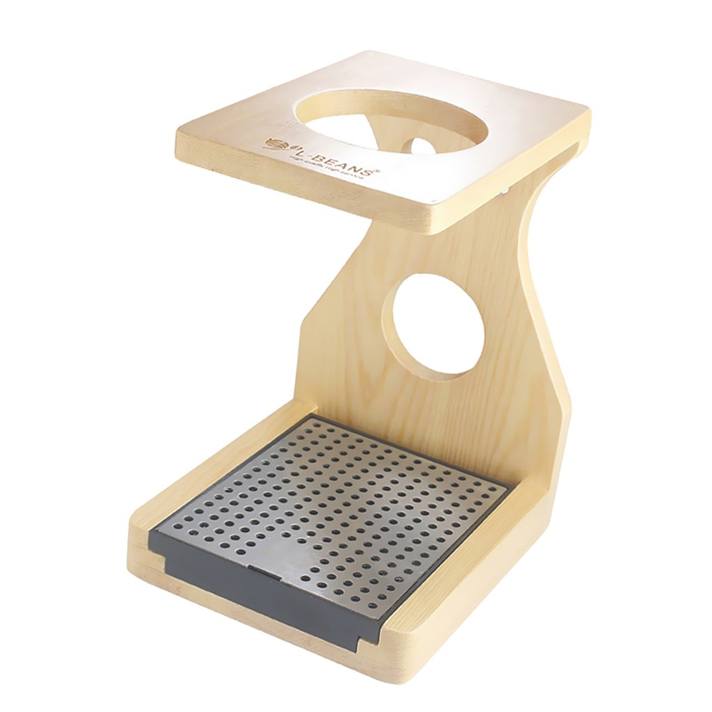 Jili Online Wood Coffee &Tea Maker Dripper Stand Drip Station with Stainless Steel Plate