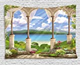 Ambesonne Italian Decor Tapestry by, Old Ancient Stone Arch View The Sea Balcony Fresco Garden Plants Spiritual, Wall Hanging for Bedroom Living Room Dorm, 80 W X 60 L Inches, Multicolor