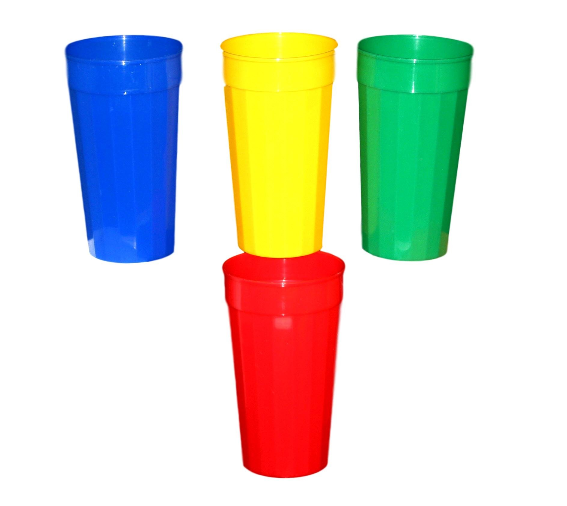 Talisman, 12 Plastic Fluted Drinking Tumblers, Large 32 Ounces, Mix of Colors