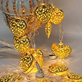 Icocol Fairy String Light Metal Heart Shaped Curtain Lamp Party Wedding Window Curtain String Light Home Garden Wall Decoration