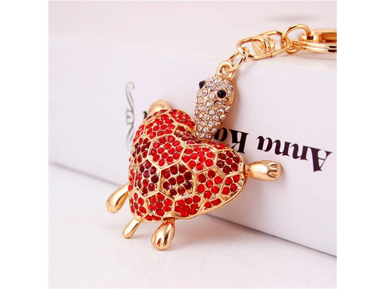 Car Keychain, Cute Diamond Love Back Shell Turtle Keychain Animal Key Trinket Car Bag Key Holder Decorations(Red) for Gift