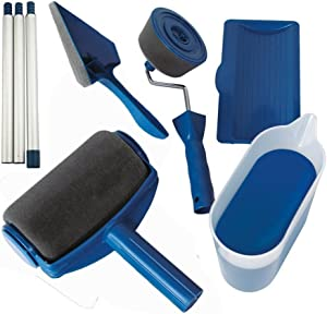 Paint Roller Kit 8 Pcs Multifunctional Paint Runner Set Paint Runner Pro Paint Roller Brush Handle Tool Flocked Edger Corner Cutter Home Office Wall Printing Tool Set (Blue)