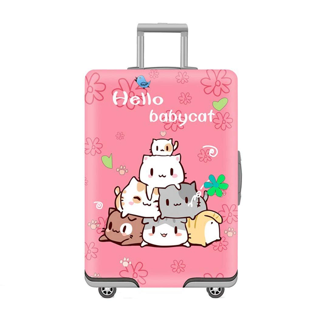 Size : S Trolley case Suitcase Cover It Has No Bad Smell Dustproof Wear-Resistant Non-Slip Four Seasons Available Spandex Suitcase Protector for 24-42 inch Elastic Stretch-Stacked cat