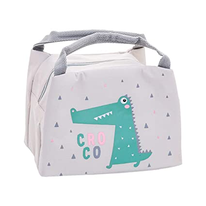 Oyachic Bolsa Termica Bolsas de Almuerzo Lunch Bag Linda Mascota Bolsas de Cremallera Bolsa de Tela Algodon Merienda Impermeable Portátil (Cocodrilo)