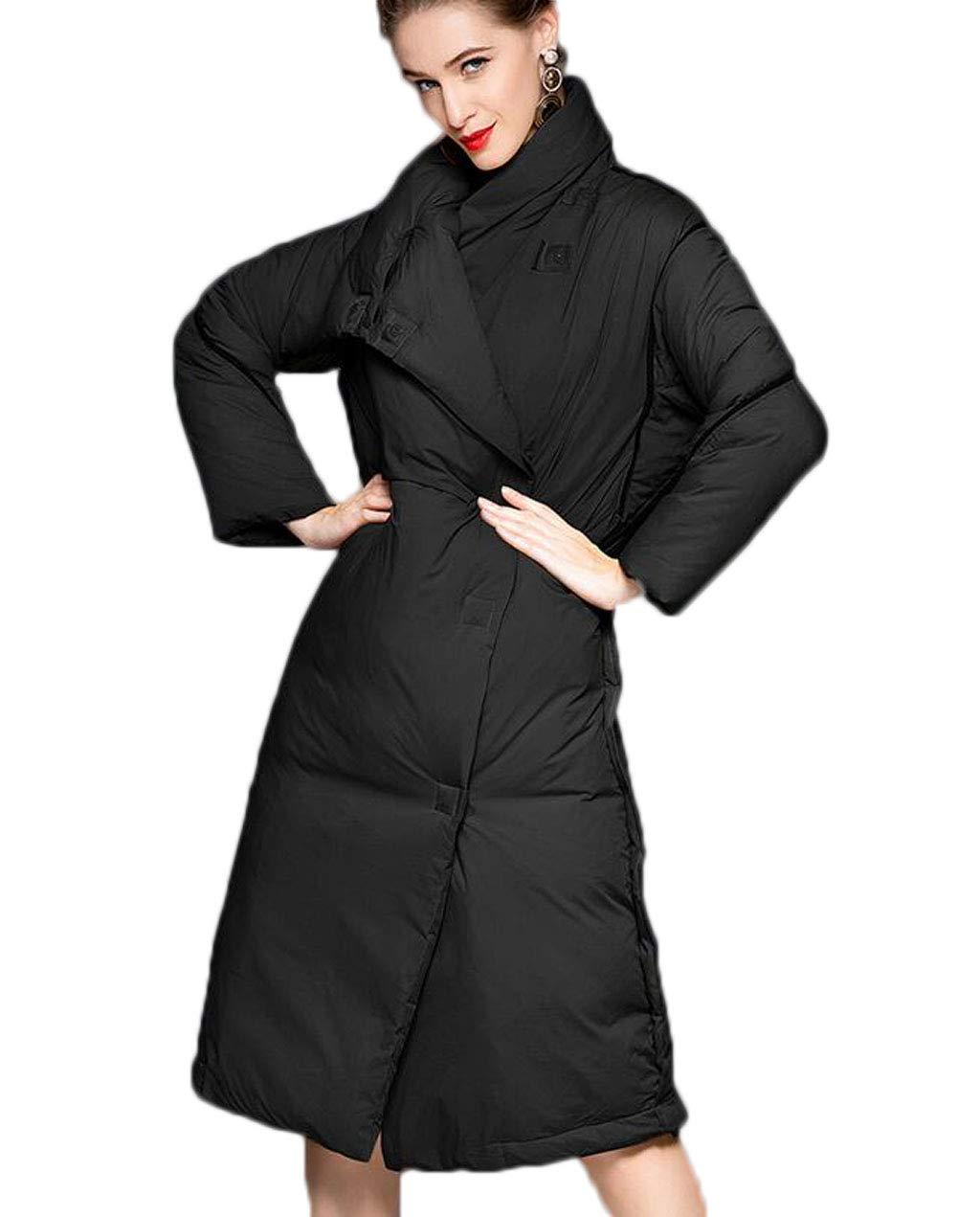 BLACK Women's Down Jacket Winter Stand Collar Long Thicken Windbreaker Warm Jacket (color   Khaki, Size   M)