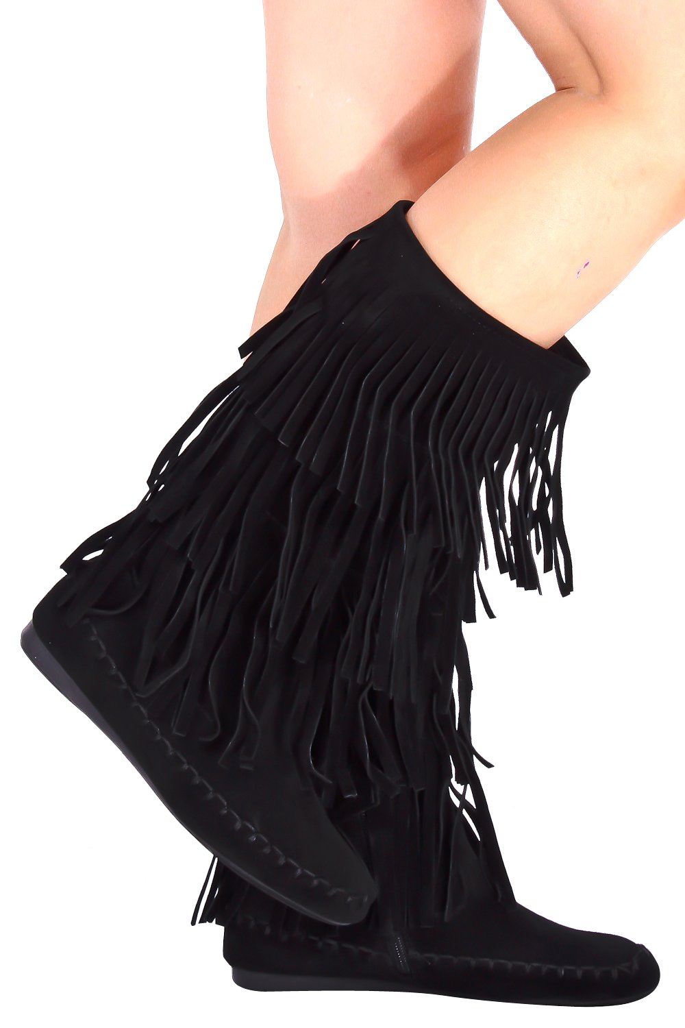Lolli Couture Young Aloud Faux Suede Moccasin Style Fringe Boot 8 black7248 by Lolli Couture